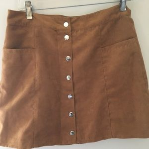 8accd7ee79 H&M Skirts | Hm Button Front Brown Suede Skirt | Poshmark